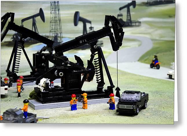 Lego Oil Pumpjacks Greeting Card by Ricky Barnard