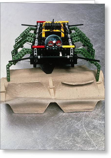 Lego Robot Spider Climbing Over A Box Greeting Card by Volker Steger