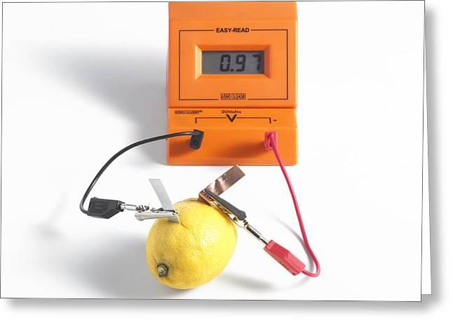 Lemon Battery Greeting Card by