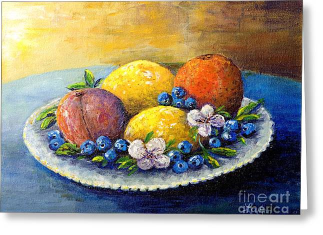 Greeting Card featuring the painting Lemons And Blueberries by Lou Ann Bagnall
