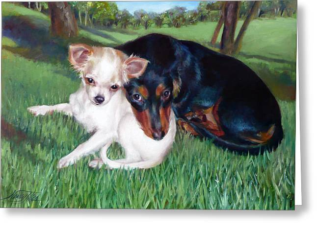 Greeting Card featuring the painting Lena And Peanut by Nancy Tilles