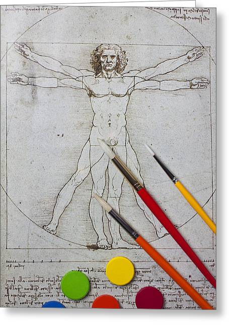Leonardo Artwoork And Brushes Greeting Card