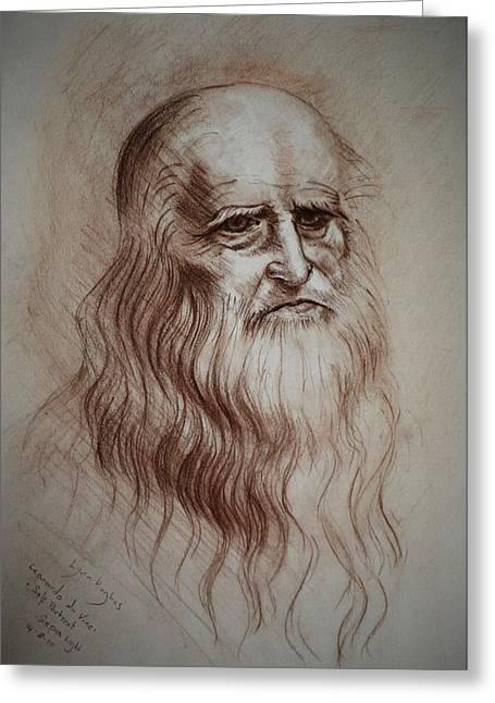 Greeting Card featuring the drawing Leonardo Da Vinci Study by Lynn Hughes