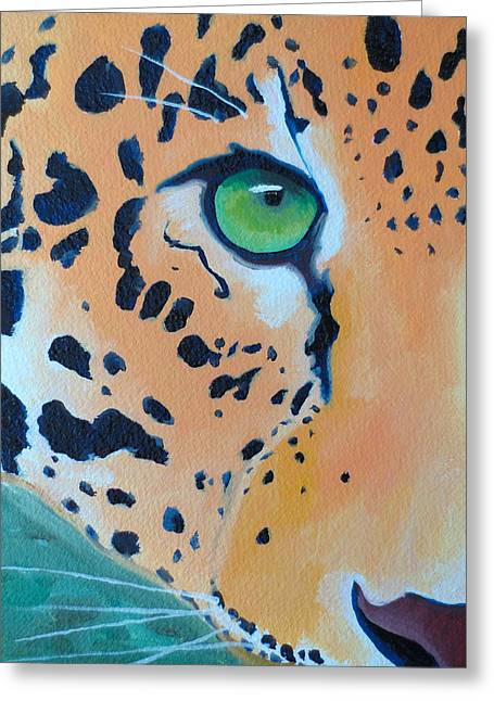 Leopard Eye Greeting Card by John  Sweeney