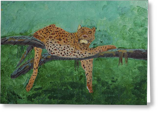 Leopard Laying On A Branch Greeting Card