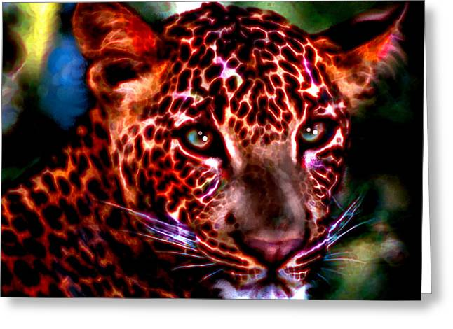 Greeting Card featuring the painting Leopard Portrait by Elinor Mavor
