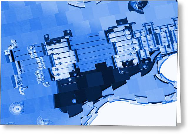 Abstract Guitar In Blue 2 Greeting Card