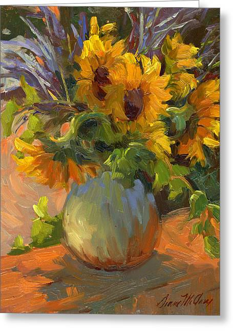 Les Paintings Greeting Cards - Les Tournesols Greeting Card by Diane McClary