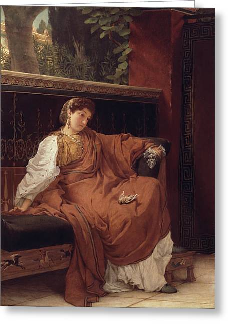 Lesbia Weeping Over A Sparrow Greeting Card by Sir Lawrence Alma-Tadema