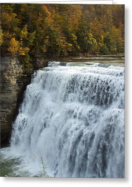 Greeting Card featuring the photograph Letchworth Middle Falls by Darleen Stry