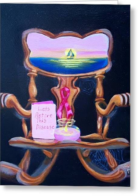 Greeting Card featuring the painting Lets Retire This Disease by Susan Roberts