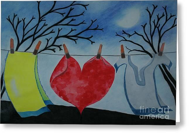 Lets Wash Heart Greeting Card by Jalal Gilani