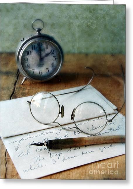 Letter Pen Glasses And Clock Greeting Card by Jill Battaglia