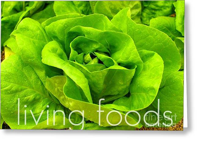 Lettuce Living Raw Foods Greeting Card by Sacred  Muse