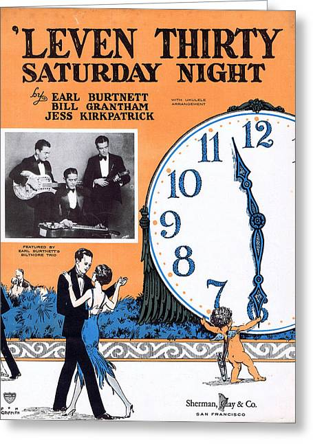 Leven Thirty Saturday Night Greeting Card by Mel Thompson