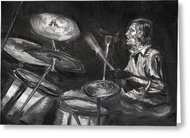 Levon Helm In Charcoal Greeting Card