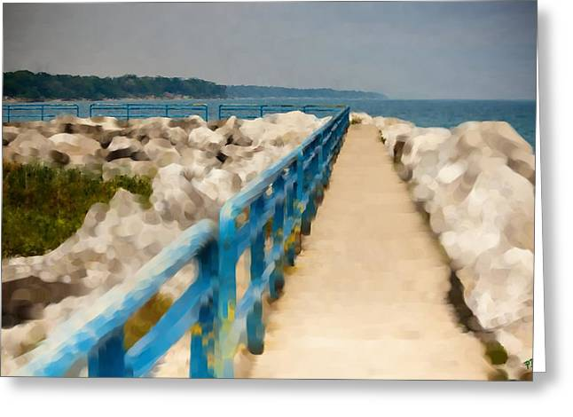 Lexington Harbor Boardwalk Greeting Card by Paul Bartoszek