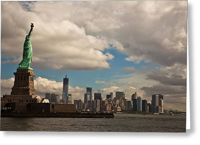 Liberty And The Skyline Greeting Card