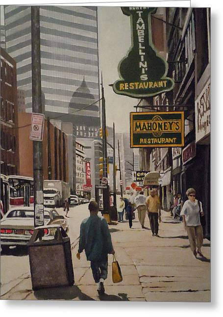 Liberty Avenue In The 80s Greeting Card by James Guentner