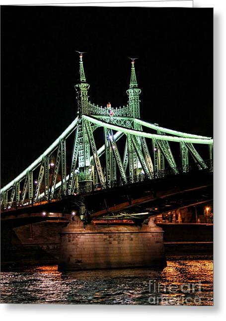 Liberty Bridge At Night Greeting Card by Mariola Bitner