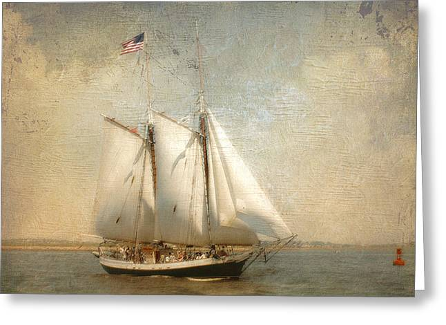 Liberty Clipper On Boston Harbor Greeting Card