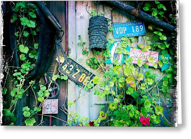 Greeting Card featuring the photograph License Plate Wall by Nina Prommer