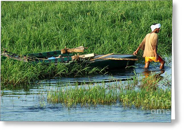 Greeting Card featuring the photograph Life Along The Nile by Vivian Christopher