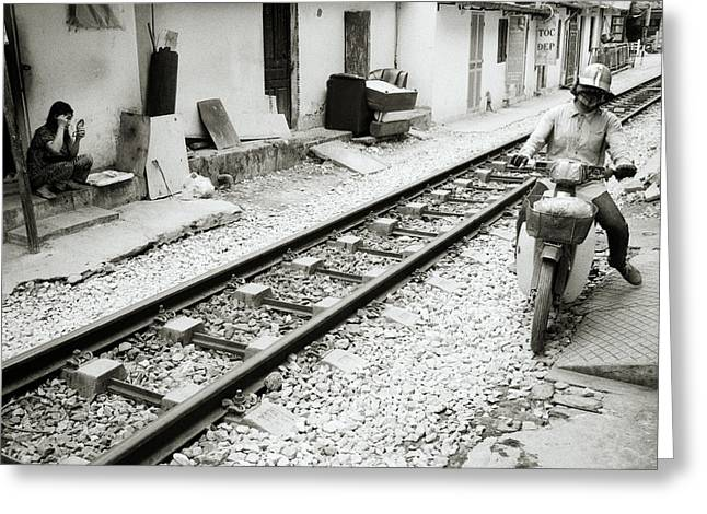 Life By The Tracks In Hanoi Greeting Card