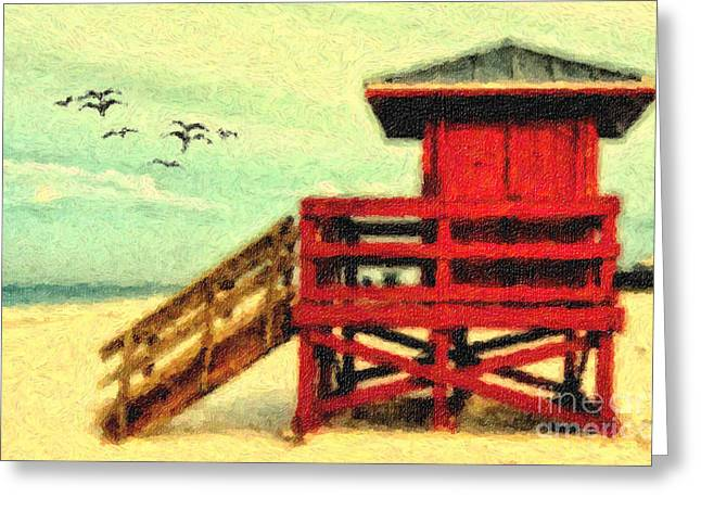 Greeting Card featuring the photograph Life Guard Station by Gina Cormier