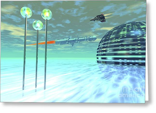 Life Under Domes On An Alien Waterworld Greeting Card by Corey Ford