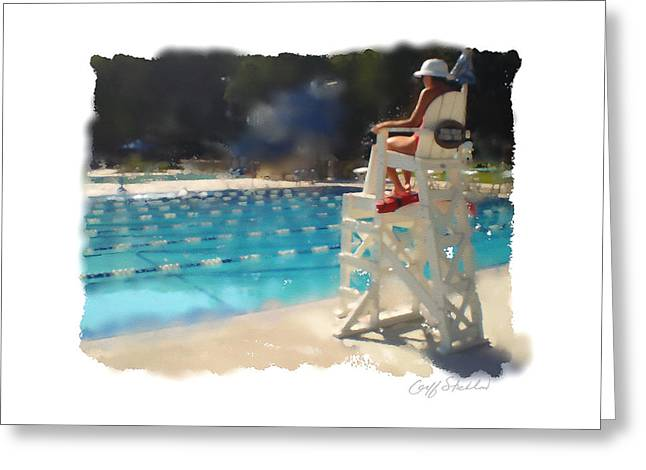Lifeguard At Tosa Pool Greeting Card by Geoff Strehlow