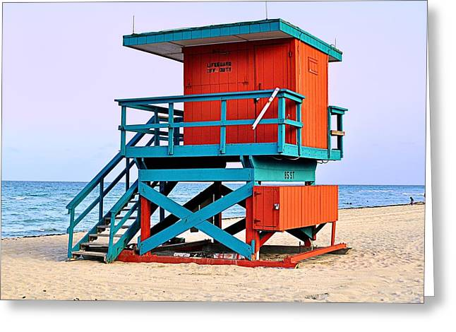 Lifeguard Tower Greeting Card by Andres LaBrada
