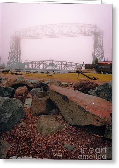 Lift Bridge In Spring Fog Greeting Card