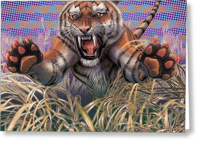 Liger  Aggression Greeting Card by David Starr