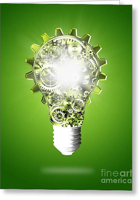 Light Bulb Design By Cogs And Gears  Greeting Card
