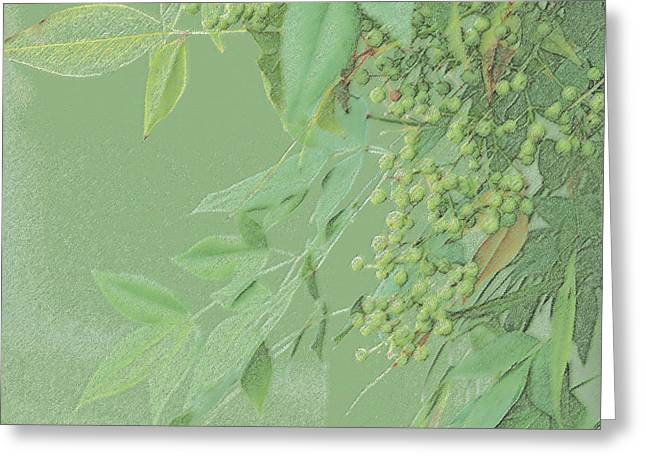 Light Green Monotone Berries Greeting Card