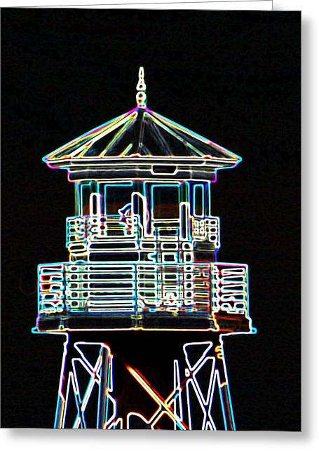 Light House On The Lake Greeting Card by Dennis Dugan