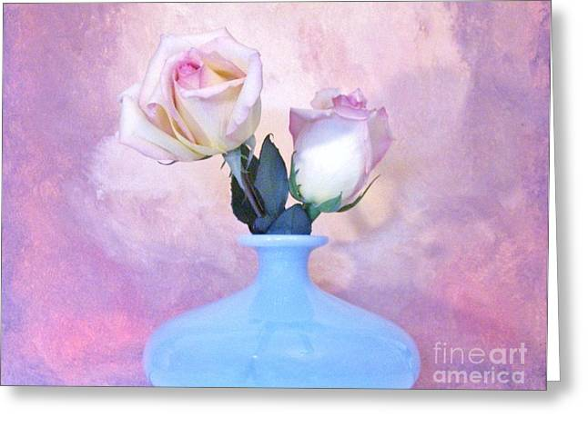 Light Pink Tipped Roses Greeting Card by Marsha Heiken