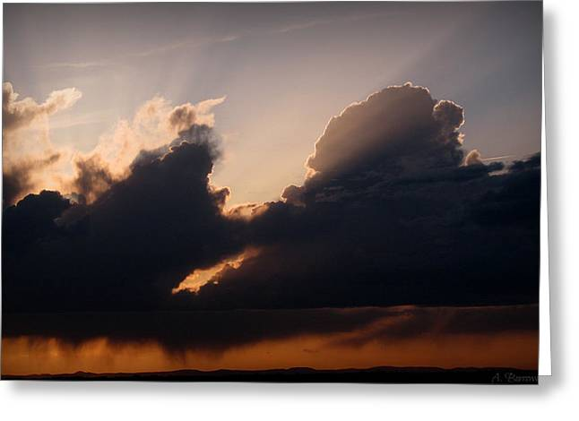 Light Rays And Rainy Skies Greeting Card by Aaron Burrows
