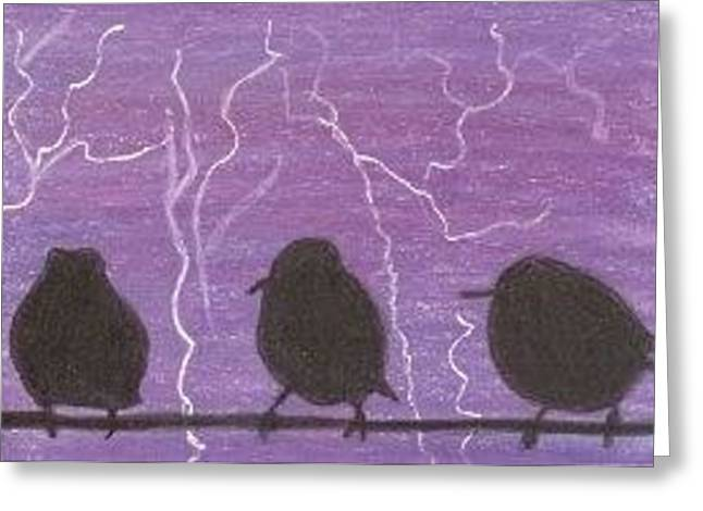 Greeting Card featuring the drawing Light Show At Purple Dawn - Aceo by Ana Tirolese