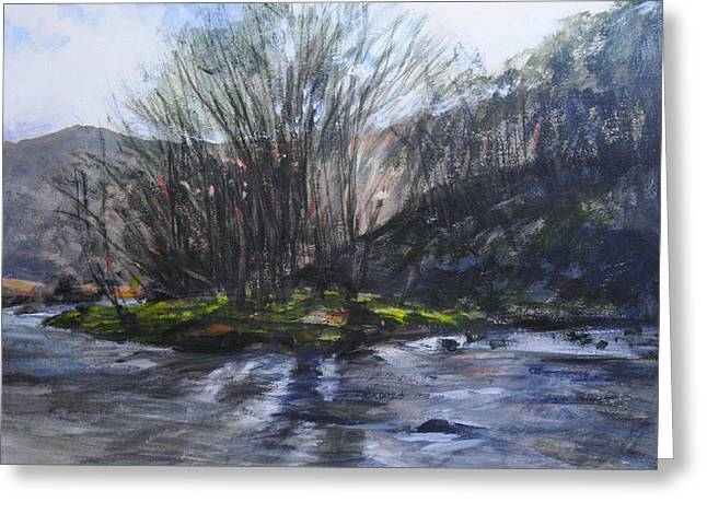 Light Through Trees At Aberglaslyn. Greeting Card by Harry Robertson