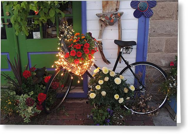 Lighted Bicycle Bayfield Greeting Card by Peg Toliver
