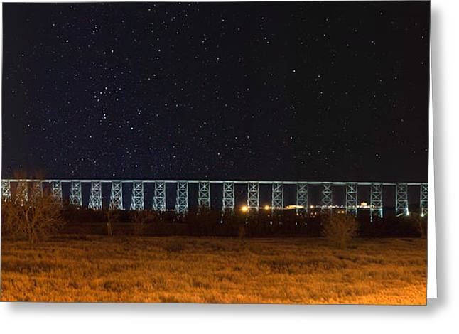 Lighted High Level Bridge Greeting Card by Tom Buchanan