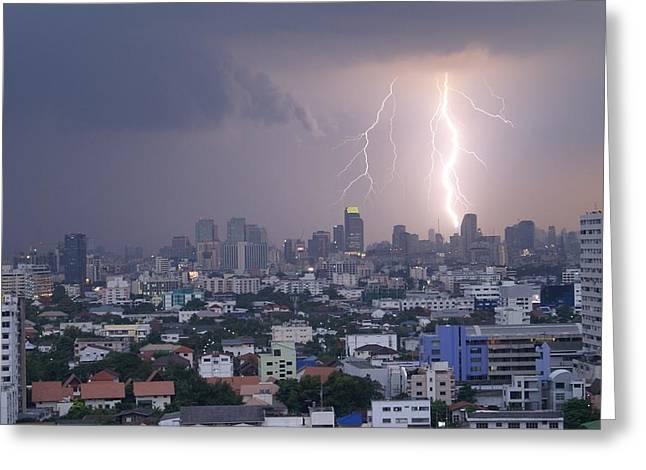 Lightening Strikes Bangkok Greeting Card by Gregory Smith
