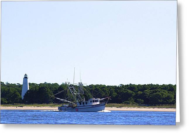 Lighthouse And Shrimp Boat Greeting Card