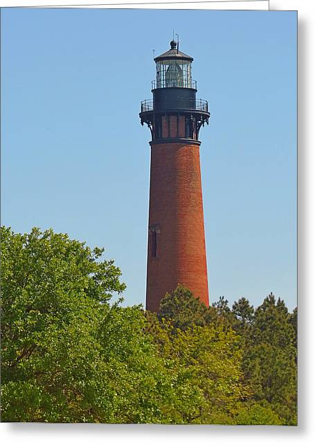 Lighthouse At Corolla N C Greeting Card by J D  Whaley