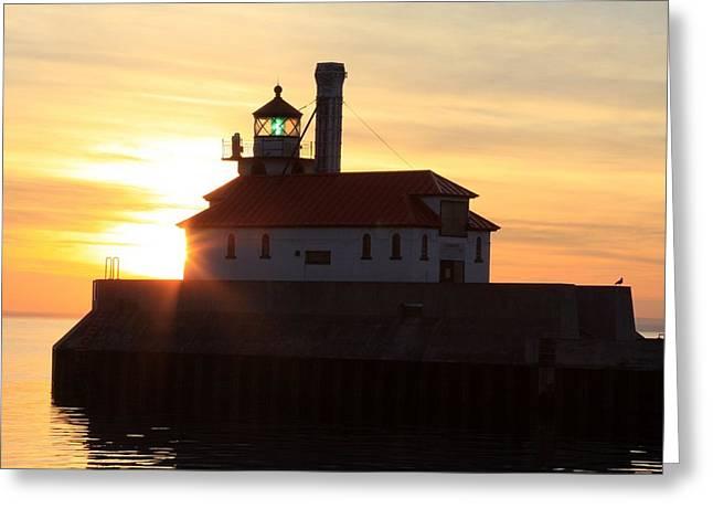 Lighthouse At Dawn Greeting Card by Rick Rauzi