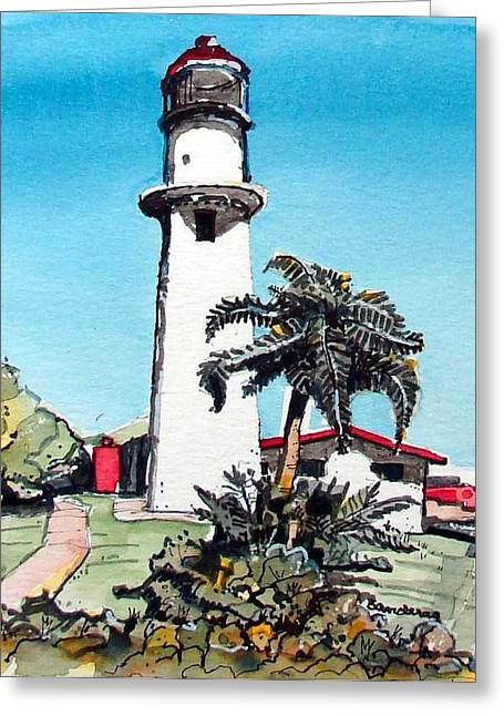 Greeting Card featuring the painting Lighthouse At Diamond Head by Terry Banderas