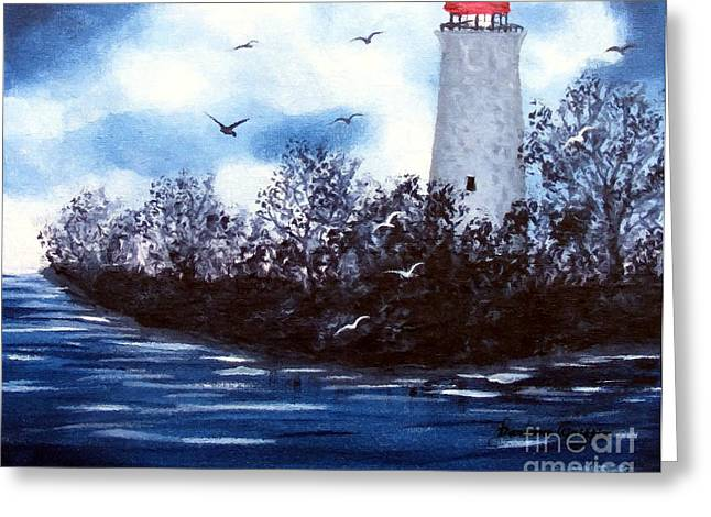 Lighthouse Blues Painterly Style Greeting Card by Barbara Griffin