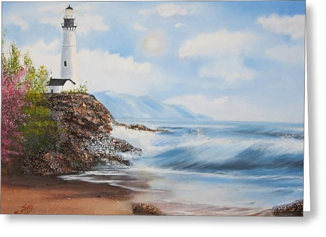 Lighthouse By The Sea Greeting Card